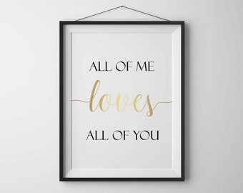 Valentines day decor Printable All of me loves all of you Love wall art Gift for her Gold wall art Love sign Home decor Home wall art