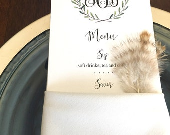 Elegant Menu Card for Showers, Parties, Weddings and More