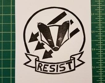 RESIST Badger Postcard Block Print –  Profits to ACLU