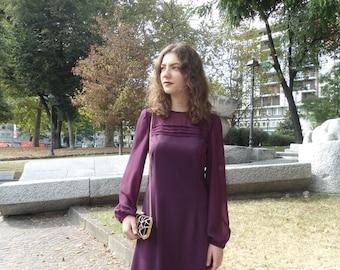 Bordeaux Dress, Sweater, Chiffon Dress, Long Sleeved Dress, Women's Clothing.