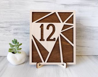 Geometric Table Numbers, Modern Wedding, Wooden Table Numbers, Rustic Wedding Decor, Wedding Decor, Boho Centerpiece, Numbers With Base