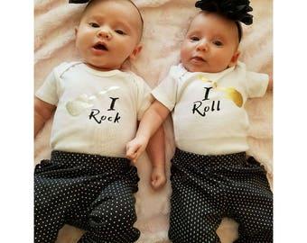 I Rock, I Roll Twin Onesies  //Twin Baby Onesie // Funny Baby shirt // Funny Twin Baby Onesie // Twins Onesie Set