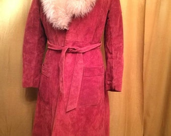 Vintage 70s Red Suede and Fur Trench Coat S/M