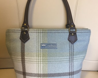 Wool Tote Bag in Duck Egg Blue & Brown Check