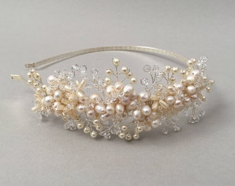 ISADORE   Bridal pearl and crystal side tiara, Wedding hair accessory, Bridal pearl headpiece