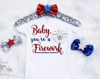 Baby Girl's 4th Of July Onesie, Fourth Of July Onesie, Baby Youre A Firework Onesie, 4th Of July Outfit, Toddler 4th Of July Shirt