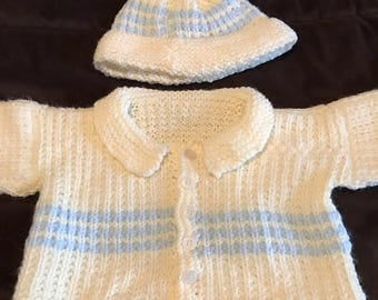 Handmade Knit Vintage Children Sweater Cardigan and Hat Size 2T 3T Yellow with Blue Stripes