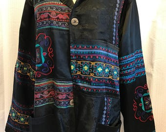 Vintage Silk Embroidered Jacket Plus Size 3XL Black Multicolor  80's Style Chico's Design
