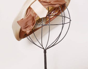 Vintage 40s straw beret with bow / woven straw hat / mocha satin bow spectator / 40s summer hat