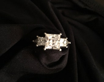 Vintage QVC 926 Sterling Silver Ring with CZ stones