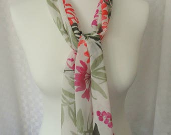 Floral print chiffon scarf, Rectangle scarf, Scarf for her, Lightweight scarf, Fashion scarf, Flower print scarf