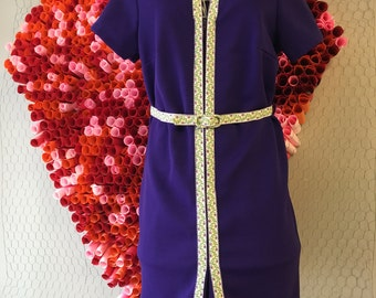 purple dress with floral ribbon accent and matching belt