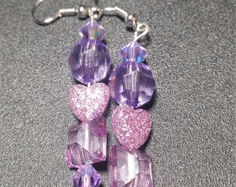 Lavender Crystal and Purple Heart Earrings in Silver