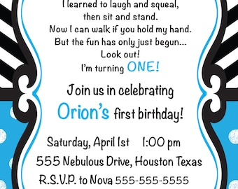 Blue and Black First Birthday Party Invitation