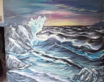 Seascape Crashing waves at sunset