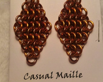 Bronze/Orange Chain Maille (European 4-1)  Earrings