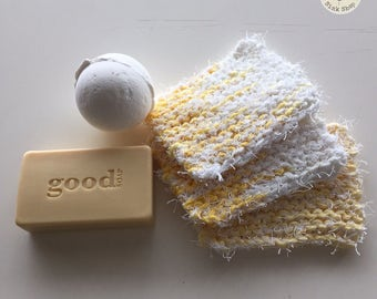 Bath and Spa Scrubby Set of 3 | Hand Knit | Yellow