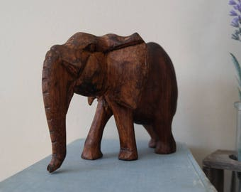 Dark Stained Wooden Elephant Figurine - Rustic -Traveler - Vintage - Antique - Nature - Animal Decor - Home Decor - Elephant Decor - Statue