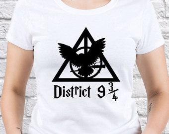Harry Potter/ Hunger Games/ District 9 3/4 / Womens shirt/girl Tshirt/ Hunger Games gift/ Mockingjay/ Mockingjay gift/Girlfriend tee/ (HP14)