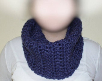 Crocheted Infinity Scarf - Navy Blue