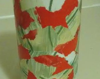 FAB POPPY FLOWER Vase in Red and Green!