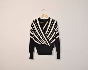Vintage Striped Sweater, Loose Wrap Sweater, Chunky Knit Sweater, Black and White Sweater, Angora Sweater, Elegant 80s / 90s Sweater