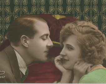 Italian Art Deco Couple | Romantic 1920's Postcard |  Metallic Gold Pochoir Pattern | Hand Painted | Amorous Intentions |