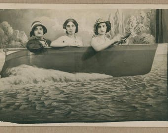 Ladies Motorboating On A Painted Lake | RPPC 1930 | Summertime Outing Photo Postcard | Souvenir | Pastoral Vignette | Flappers Portrait |