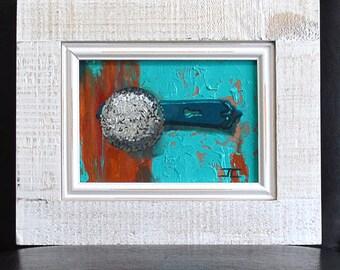 "5"" x 7"" Framed Original Fine Art Oil Painting of Silver Door Handle on a Brown and Turquoise Door"