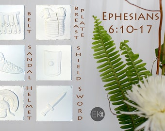 Ephesians 6:10-17 Christian gift, Easter gift, Christian wall art, Series of 6 Cast stone tiles only - CT109