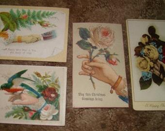 4 Pieces of Victorian Scrap (Hands)