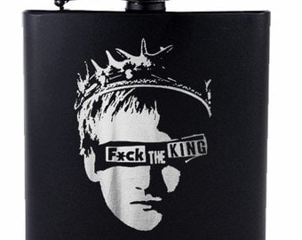Fku The King // Gift for Him // Funny Flask // Hip Flask for Men // 21st Birthday Gift // 7 oz