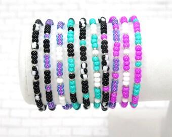 Beaded friendship bracelets / friendship bracelets / pink / teal / white / purple / blue / black / lobster clasp / gift / lifestyle jewelry