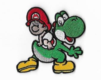 Yoshi's Island Patch (3.5 Inch) Super Mario Brothers Embroidered Iron / Sew on Badge DIY Applique Souvenir Baby Mario / Yoshi Dinosaur Retro