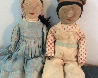Brother and Sister Antique rag dolls