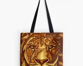 Lion painting printed on fabric tote bag yellow ochre Brown - digital art - animal portrait - the lion sign - figurative art