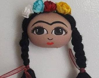 Frida kahlo, frida magnet, frida doll, frida painting, handmade frida, art magnet, fridge ornaments, kitchen decor