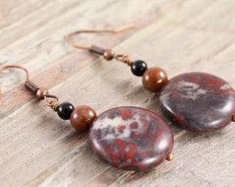 Bronze jasper and onyx earrings