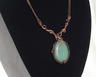 Aventurine wirewrapped necklace - handmade