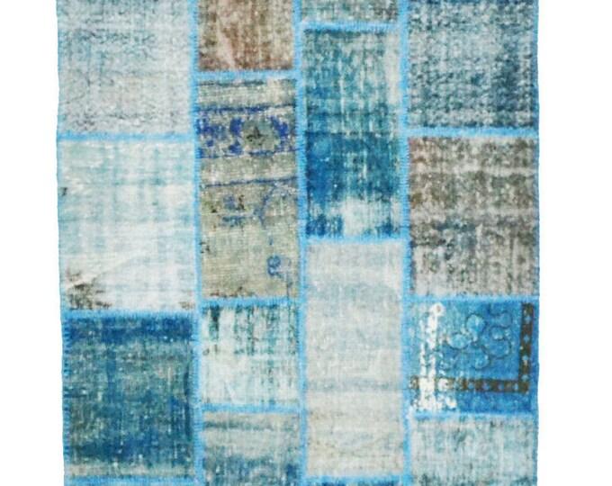 Blue Vintage Kilim 203 cm x 139 cm/ 6,66 x 4,56 ft / Free Shipping* VINTAGE PATCHWORK KILIM - Turkish Vintage Kilim Rug - Turkish Rug Kilim