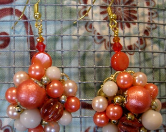 Upcycled Vintage Faux Pearl & Coral Cluster Drop Earrings