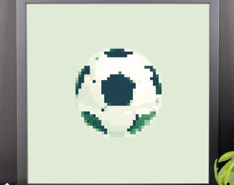 Fútbol/Soccer Poster, Pixel Art, 8-bit