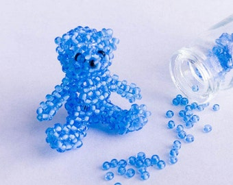 3D Beaded teddy bear - Handmade