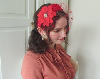 Vintage Inspired Red Velour Headband