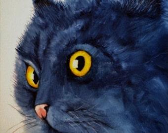 Black cat portrait - ORIGINAL OIL PAINTING