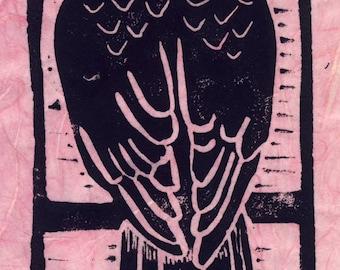 Pink Rice Paper Sharp-shinned Hawk Linocut Print
