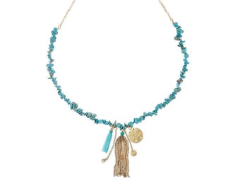 Semi Precious Turquoise Beads Gold Tassel Necklace