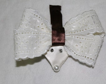 mouse white and brown hair bow