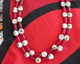 Vintage Art Glass and Glass Bead Necklace 1950's Japan - Red Glass and White Millefiori Style Beads