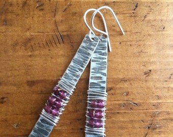Sterling Silver Textured Oxidized Earrings with Czech Glass